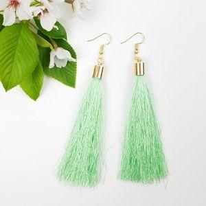 Jewelry - Mint Green Tassle Fringe Earrings